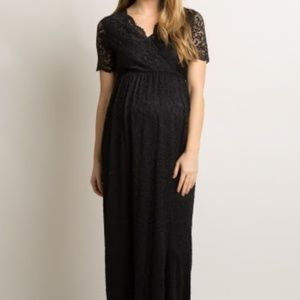 Black Lace Overlay Wrap Maternity Maxi Dress